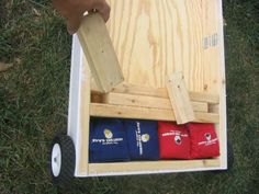 corn hole- with storage spot for bags