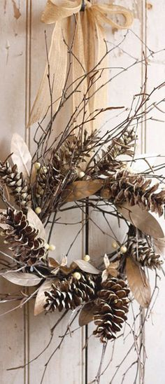 #rustic winter wreath is good for the #Christmas season but can be displayed through out the entire winter