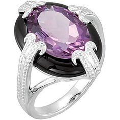 Fetching Onyx Framed Amethyst Ring Skillfully set in Sterling Silver FOR SALE