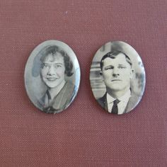 Antique Man & Woman Celluloid Mourning Photo Pins Pinback by lucra, $36.50