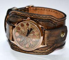 Leather watch - Steampunk watch - Men wrist watch - Wrist watch Women watch Steampunk wrist watch - For men - Unusual watch - Vintage watch - pinned by pin4etsy.com