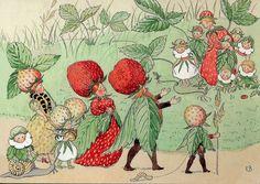 The Strawberry family.  Illustration by Elsa Beskow | Flickr
