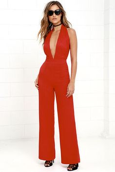 40a61e27e116 Keep Playing That Song Red Halter Jumpsuit at Lulus.com! Halter Jumpsuit
