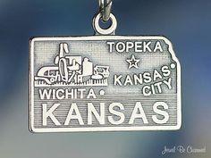 Kansas Charm Sterling Silver State America USA on Etsy, $10.95