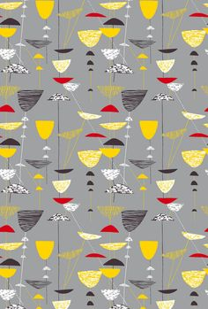 >Lucienne Day 1951 'Calyx' textile design in grey; manufactured by Heal & Son Ltd. Lucienne Day, Robin Day, Textile Patterns, Print Patterns, Fabric Design, Pattern Design, Tile Design, 1950s Design, Sketches