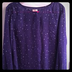 lovely blouse!! Color is navy blueish purple lol very gorgeous top, excellent condition sheer long sleeve 100% polyester feel free to make an offer Anthropologie Tops