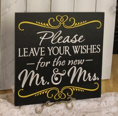 Guest Book/please Leave Your Wishes For The New Mr And Mrs/wedding Sign/photo…
