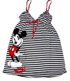 Disney Loungewear Mickey Mouse Striped Sleepwear Dress