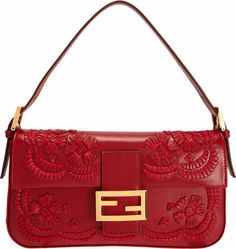 Fendi Red Stitched Leather Flowers Baguette Bag