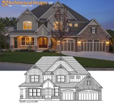 House Plan 73330HS at dusk with the front elevation superimposed. A perfect match!  House Plan 73330HS Link: http://www.architecturaldesigns.com/house-plan-73330HS.asp