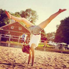 love doing split handstands  gymnastics cool strength