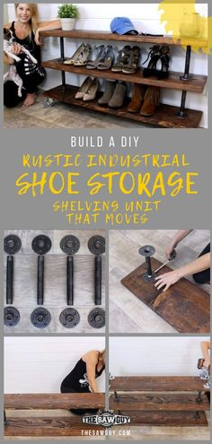 Build a DIY Rustic Industrial Shoe Storage Shelving Unit that Moves! - The Saw G. : Build a DIY Rustic Industrial Shoe Storage Shelving Unit that Moves! – The Saw Guy – Best of – Industrial Shoe Rack, Industrial Shelving Units, Industrial Home Design, Industrial House, Industrial Style, Rustic Shoe Rack, Rustic Wood Shelving, Rustic Industrial Decor, Vintage Industrial