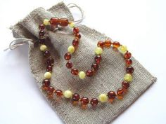 lovely amber teething necklace for baby