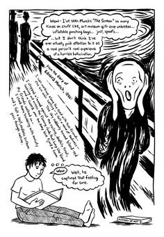 """had never read the accompanying diary entry from Munch until I got my hands on Marbles, by Ellen Forney. In a clenched scrawl, right below her own description of how unfamiliar they seemed, she reproduces the painter's words:"" (read the text in the cartoon)"