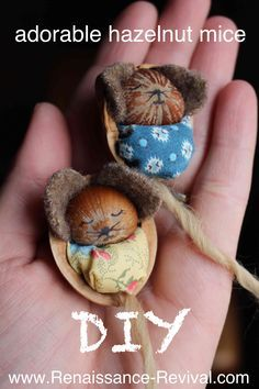 DIY and video of how to make these adorable hazelnut mice! Great craft to involve kids in! www.renaissance-revival.com