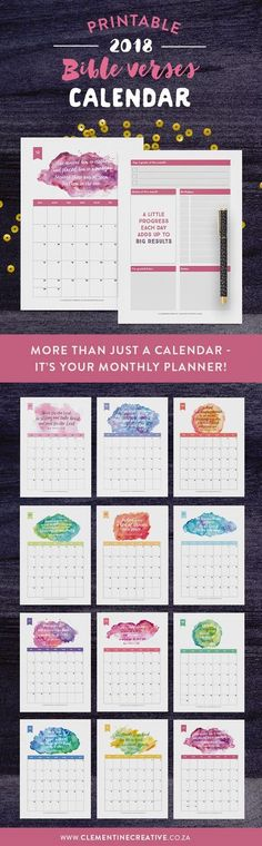 It's more than just a calendar - it's your monthly planner! Keep up with events, important dates, birthdays, exams or even your fitness routine with this beautiful watercolour Bible verse printable 2018 calendar. Be inspired throughout the month by the motivational quote and write down reminders, bills to pay, etc. Click here to buy.