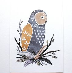 Owl Illustration Art - Watercolor Painting - Archival Print 8x10- Little Owl Manu by Marisa Redondo. $20.00, via Etsy.