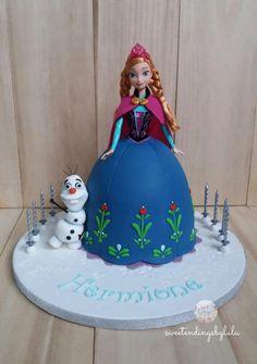 Anna Frozen Cake, Frozen Doll Cake, Anna Cake, Frozen Dolls, Doll Birthday Cake, Frozen Themed Birthday Party, Barbie Birthday, Frozen Party, Candy Party Games
