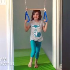 DreamGYM Indoor Swing - Trapeze Bar & Gymnastic Rings Combo and Rope Swing for Doorway Gym Kids Indoor Gym, Indoor Playroom, Indoor Games For Kids, Kids Indoor Playground, Kids Gym, Indoor Jungle Gym, Playroom Design, Kids Room Design, Gymnastics Room