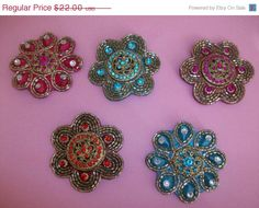 60 Off Sale 5 Different Color Jeweled Hair Clips M382 by MICSJWL, $8.80
