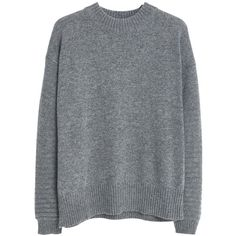 Mango Wool-Blend Jumper , Medium Grey found on Polyvore featuring tops, sweaters, medium grey, long sleeve jumper, grey top, wool blend sweaters, long tops and mango tops
