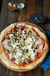 Pesto and Goat Cheese Pizza via lemonsforlulu.com