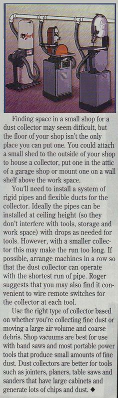 Finding space in a small shop for dust collector may seem difficult, but the floor or your shop isn't the only place you can put one . . .http://media-cache-ec0.pinimg.com/originals/48/62/09/486209121fd1d6f0a942e9bc01b68ccc.jpg