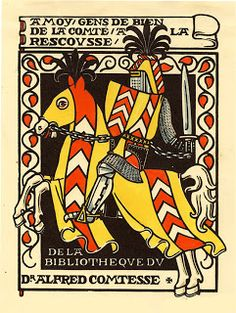 Ex Libris by Claude Jeanneret (1886-1979) for Dr. Alfred Comtesse (1929)