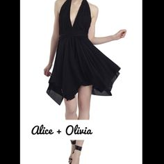 "Alice + Olivia Black Dress Alice + Olivia's classic styling sets the romantic mood in this flirty & playful dress that features a romantic halter neck and handkerchief hem with an open back. Pair it with a bold statement necklace and lace-up heels for a stunning look and it will be the perfect dance partner for the night out! Size: 4 Approx Measurements: Bust: 32"" Waist: 24"" Hip: 35"" Material 95% Silk 5% Spandex Lining: 100% Silk  Condition: Pristine. Sold Out! Must Have for Summer! It's…"