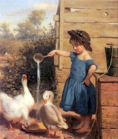 "The Goose Girl"" By Seymour J Guy oil on canvas. Description from pinterest.com. I searched for this on bing.com/images"