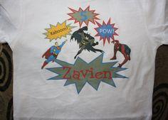 Personalized Superhero Birthday toddler shirt by PolkaDautz, $16.00