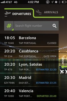 easy to use flight search, stylish tabs...especially slick for an airport app