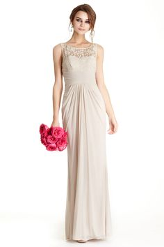 Bridesmaid Dress APL1741.  Floor Length Sheath Shape Bridesmaid Evening Dress has Sleeveless Bodice with Round Lace Neckline and V Open Back with Zipper Closure, Solid Color Skirt with Ruched Front and Back Completes the Style.  https://www.dresstopic.com/bridesmaid-dresses/bridesmaid-dress-apl1741