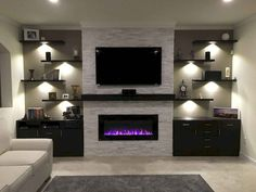 18 ideas for living room tv wall decor ideas fireplaces Living Room With Fireplace, New Living Room, Home And Living, Tv Wall Ideas Living Room, Stone Wall Living Room, Living Room Wall Units, Modern Living, Living Room Ideas Electric Fireplace, Wall Shelving Living Room
