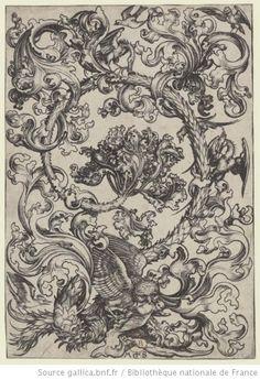 Titre : [Rinceau d'ornements au hibou et aux oiseaux] : [estampe] / MS [M. Schongauer] [monogr.] Auteur : Schongauer, Martin (1450?-1491). Graveur