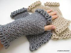 PDF Fingerless Gloves With Ruffled Edges, Tutorial Pattern Crochet Wrist  Warmers With Lace Edges, Lyubava Design Crochet Pattern number 77. via Etsy.