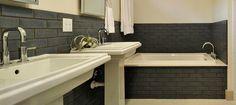 craftsman bathroom subway tile - Google Search Garage Guest House, Railing Ideas, Stair Railing, Modern Minimalist House, Craftsman Bathroom, Prairie Style Houses, Bathroom Crafts, Glass Brick, Fireclay Tile