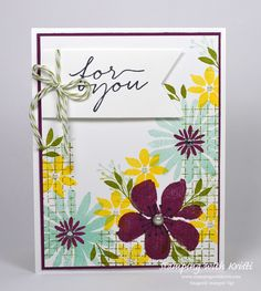 Stampin Up Blooms and Wishes card by Kristi @ www.stampingwithkristi.com