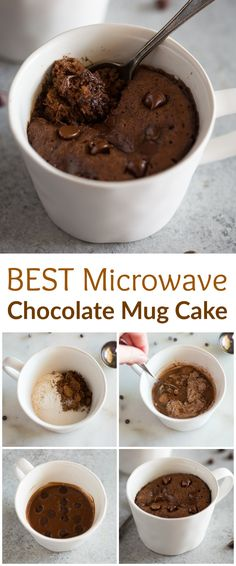 Microwave Chocolate Mug Cake is the easiest and fastest way to make dessert for one or two. This mug cake recipe is made with chocolate chips and no eggs. via Cake Chocolate Mug Cake Microwave Chocolate Mug Cake, Mug Cake Microwave, Chocolate Mug Cakes, Microwave Recipes, Chocolate Recipes, Chocolate Chips, Microwave Brownie, Easy Microwave Desserts, Microwave Baking