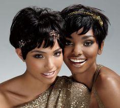 short hair with decorative pins and headband-bridesmaid look too