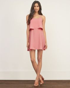 Womens Overlay Crepe Dress | Incredibly flattering with overlay detailing, a cutout back with adjustable straps, fully lined and a zipper closure on left side | Abercrombie.com