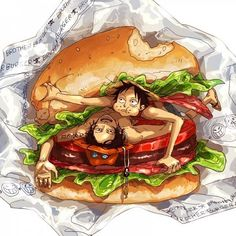 Luff and Ace Brother Burger haha Anime One Piece, One Piece Ace, One Piece Fanart, One Piece Luffy, Zoro, Ace And Luffy, One Piece Images, Cute Anime Pics, Monkey D Luffy