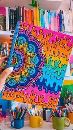 Easy Canvas Art, Small Canvas Art, Mini Canvas Art, Trippy Drawings, Pencil Art Drawings, Cool Art Drawings, Doodle Art Drawing, Mandala Drawing, Dibujos Zentangle Art