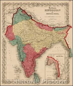 Old Maps, Antique Maps, Historical Quotes, Historical Maps, India Map, India Facts, History Of India, Vintage Wall Art, History Facts