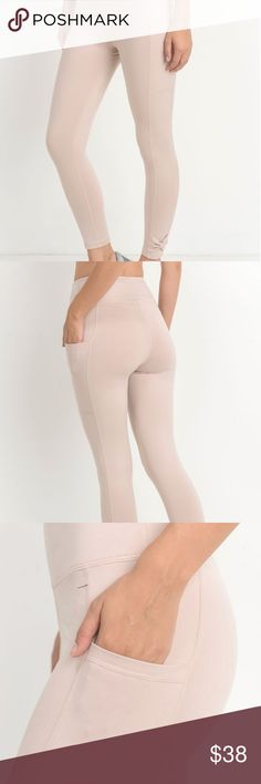 RIBBON ACCENT LEGGINGS Simple, yet so chic! These high-waist, full leggings feature ribbon accent just above the ankles and slanted pockets on the sides. Super strechy, comfy soft-to-touch material with tummy control. Moisture-wicking. Four-way stretch.  Fabric: 88% polyester, 12% spandex. Pants Leggings