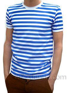 MENS stripey tee t-shirt blue white indie mod sailor NEW preppy nautical