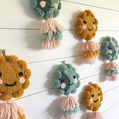 One of the things I love about tufting is how they all end up having their own little personalities these sweeties will be in the shop update this Thursday! Pom Pom Crafts, Yarn Crafts, Embroidery Art, Embroidery Patterns, Julie Robert, Punch Needle Patterns, Punch Art, Rug Hooking, Needle Felting