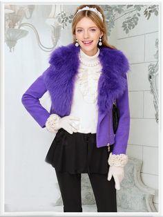 Morpheus Boutique  - Purple Hair Collar Zipper Wool Jacket Coat