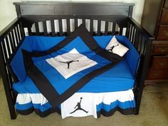 Michael Jordan Baby Boy Crib Bedding, Royal Blue - Black - White