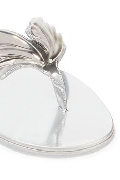 Giuseppe Zanotti - Embellished Metallic Leather Sandals - Silver - IT